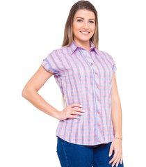 camisa pimenta rosada loreta xadrez vermelho e azul