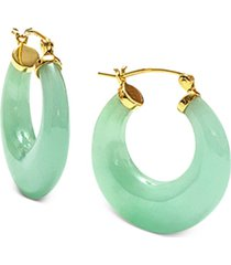 dyed jade (25mm) small hoop earrings in 14k gold-plated sterling silver, 1""