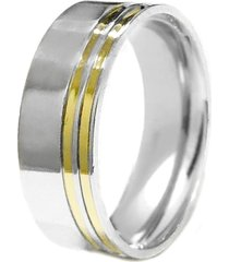 aliança prata mil reta de prata c/ filete de ouro prata