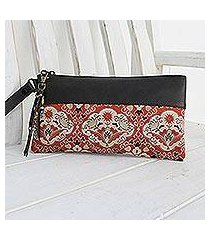 leather accent silk wristlet, 'chiang mai bouquet' (thailand)