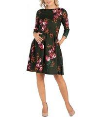 24seven comfort apparel floral fit n flare pockets maternity dress
