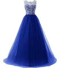 blevla a-line straps lace bodice prom dress long tulle formal gowns royal blu...