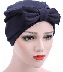 cappello a cuffia musulmano big bowknot colore solido in raso di colore solido adatto a quattro stagioni