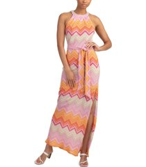trina turk zigzag-print high-slit dress