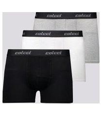 kit de 3 cuecas boxer colcci branca preta e cinza