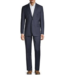 slim-fit mini-checkered wool & silk blend suit