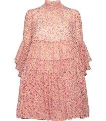 chiffon shift dress kort klänning rosa by ti mo