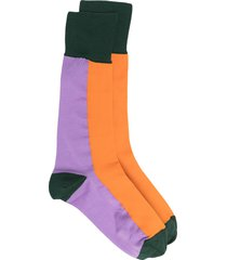 marni panelled colour-block cotton socks - orange