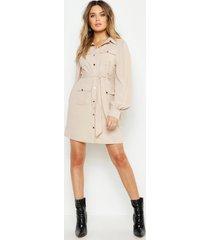 blouse jurk met utility zakken, ecru