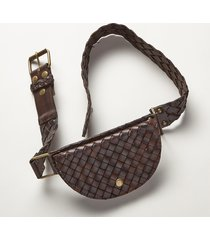 women's woven leather pouch belt