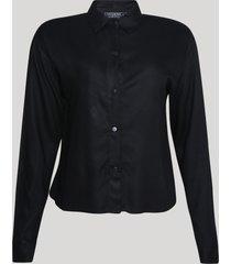 camisa feminina manga longa com botões de pressão preto