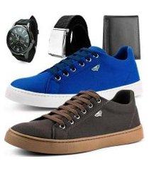 kit 2 pares de sapatênis dhl calçados masculino + relógio + cinto e carteira