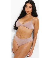 plus glitter bikini broekje met hoge taille, rose gold
