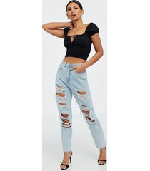 missguided riot vintage distress mom jeans straight