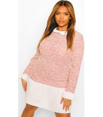 plus loshangende jurk met bouclé contrast kraag en manchette, pink