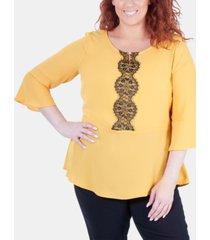 ny collection plus size lace-trim peplum blouse