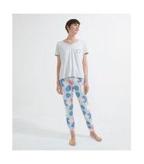 pijama blusa manga curta e calça em viscolycra estampado | lov | cinza | gg