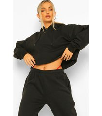cropped oversized hoodie sweat, black