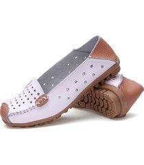 scarpe piatte in pelle traforate morbide traspiranti di slip on