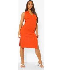 gebreide midi jurk met knopen en polo kraag, orange