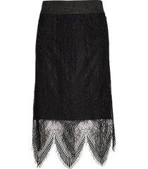 lizzycr skirt knälång kjol svart cream