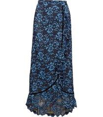 flynn lace lång kjol blå ganni