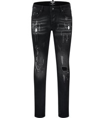 elegante heren jeans skinny destroyed look black denim destroy 001 lengte 32