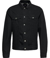ams blauw trucker jacket - organic cotton - clean black jeansjack denimjack zwart scotch & soda