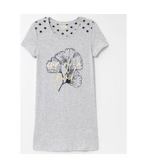 camisola manga curta estampa floral e poá | lov | cinza | p