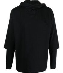 alchemy layered drop-shoulder hoodie - black