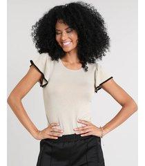 blusa feminina em tricô com babado na manga decote redondo kaki