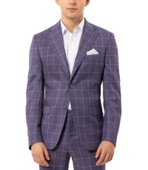 tallia men's slim-fit stretch purple windowpane suit separate jacket