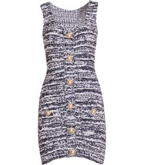 balmain short white and blue tweed dress with golden buttons
