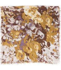 loro piana abstract floral shawl brown/orange sz: