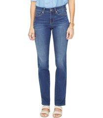 women's nydj marilyn high waist slit cuff straight leg jeans, size 0 - blue