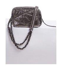 bolsa de couro ilhós metallic grafite - u