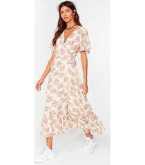 womens summer days floral wrap midi dress - cream