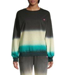 lea & viola women's printed cotton-blend sweatshirt - navy - size xs