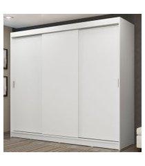 guarda-roupa casal madesa kansas 3 portas de correr 3 gavetas branco cor:branco