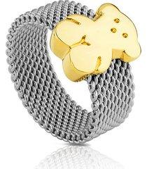 anillo mesh de acero y oro