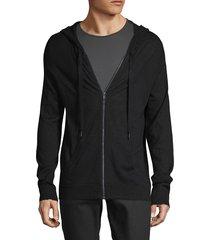 zadig & voltaire men's skull-embellished cashmere zip hoodie - noir - size m