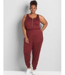lane bryant women's livi sleeveless half-zip jumpsuit 38/40 zinfandel