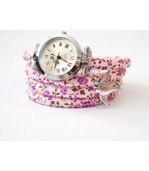 zegarek - jaskółka - fioletowe kwiaty