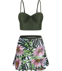 floral leaf push up ruched skirted tankini swimsuit