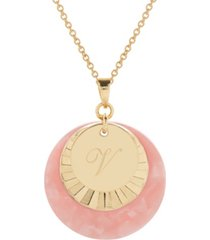 brook & york 14k gold plated cami initial charm pendant necklace