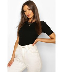 rib knit crew neck short sleeve knitted top, black