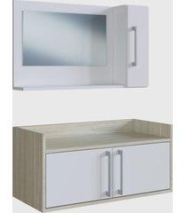 conjunto de balcão e espelheira p/ banheiro akira branco e madeirado claro e estilare móveis