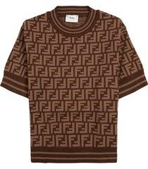 fendi brown t-shirt in ff viscose blend
