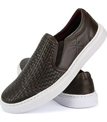 sapatenis iate slip on confort tresse café couro chocolate