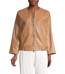peserico women's cropped boxy leather jacket - cafe - size 46 (10)